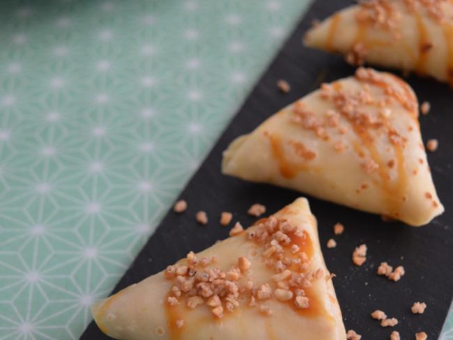 Crêpes aux pommes et confiture de lait façon samoussas