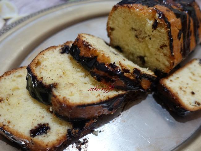 Cake au sirop de citron bergamote chocolat et poudre d'amandes