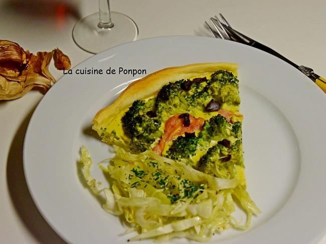 Tarte au brocoli et ail noir