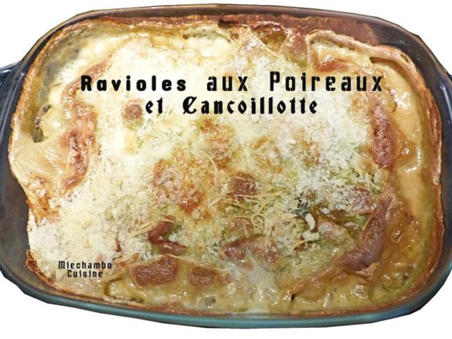 Gratin de ravioles aux poireaux et à la cancoillotte