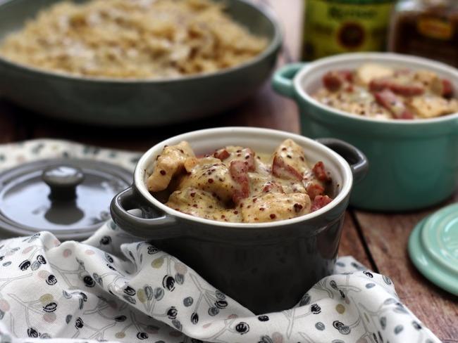 Poulet au cidre, bacon et moutarde à l'ancienne