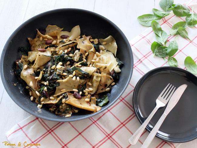 Lasagnes aux épinards, pesto et olives
