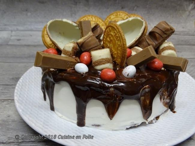 Layer cake cacao, confiture clémentines corses, ganache montée chocolat blanc, couverture chocolat noir