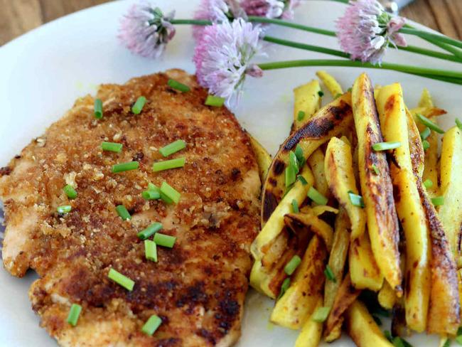 Poulet croustillant et frites de patates douce