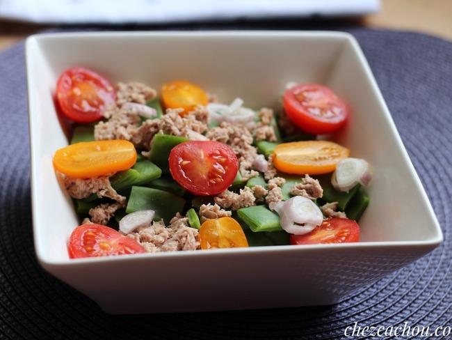 Salade de haricots coco plats et thon au naturel