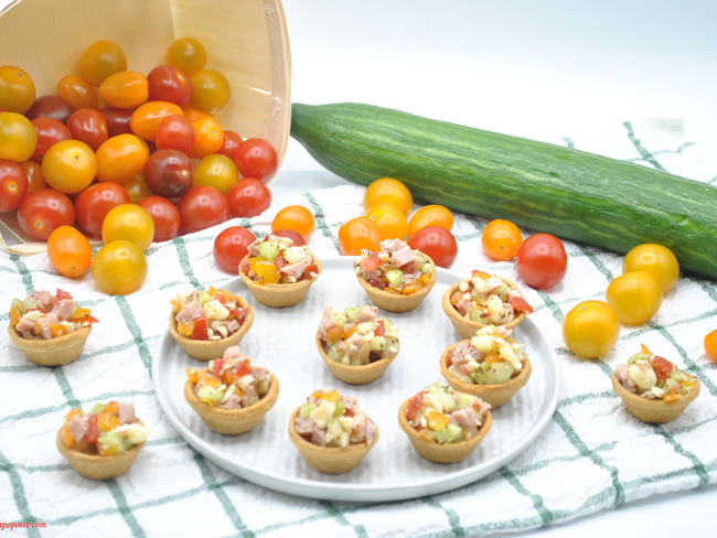 Cups tomates concombre jambon