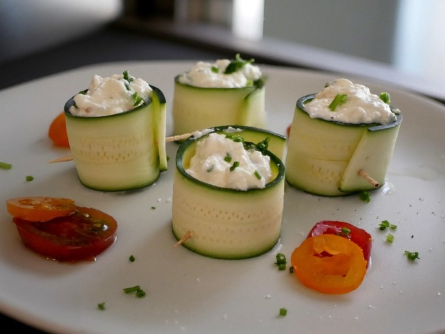 Roulés de courgette au fromage frais