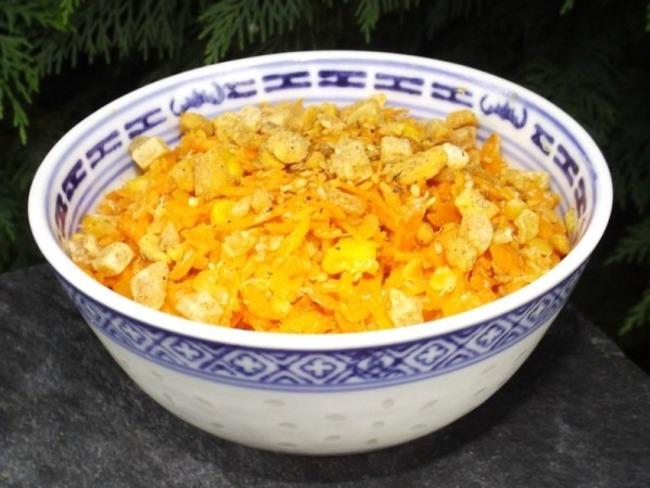 Salade de carottes maïs et lentilles corail aux saveurs asiatiques