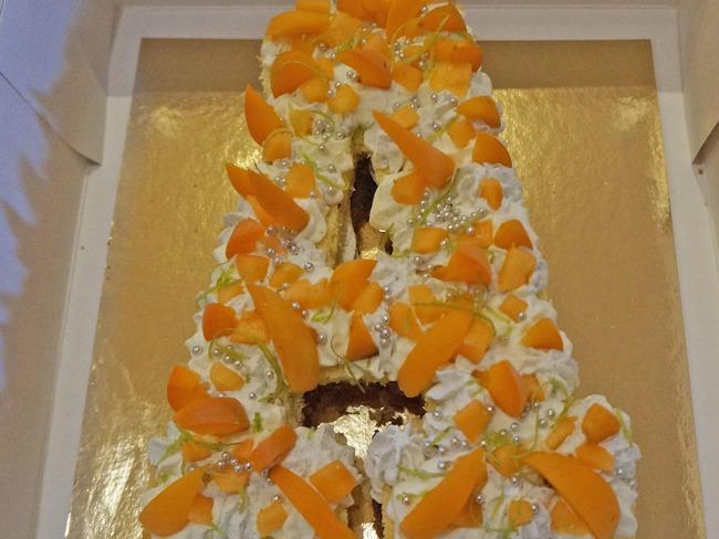 Letter cake melon, abricots et citron vert