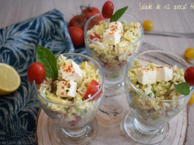 Salade de riz avocat feta -