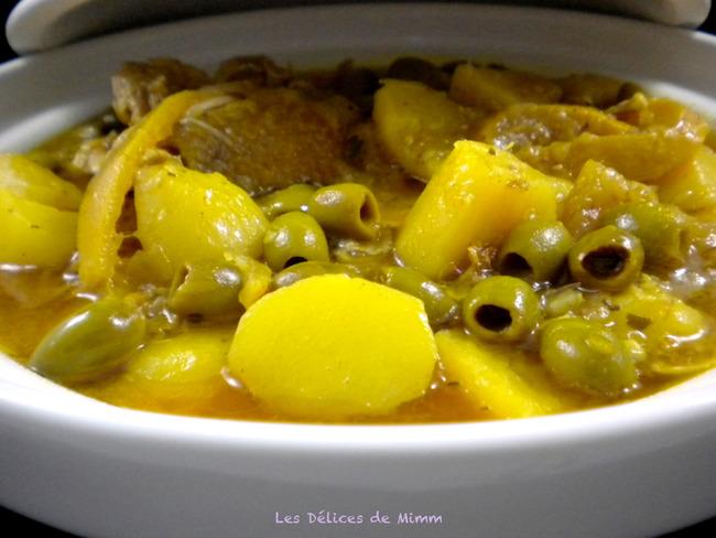 Tajine de poulet aux olives, citron confit et pommes de terre