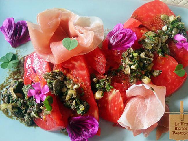 Chianti Rosa en Carpaccio & vinaigrette au Spéculoos... mange des tomates mon amour...