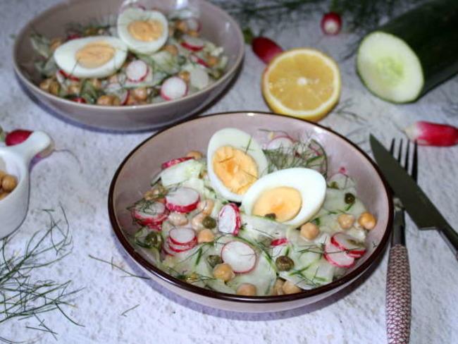 Salade de concombre et radis aux pois chiches