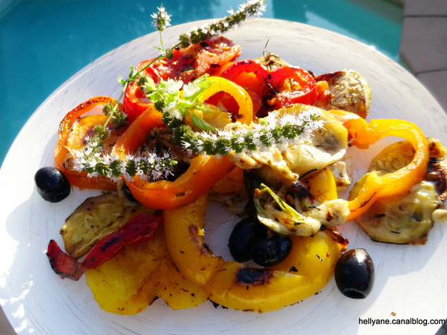 Légumes du soleil aux fromages chèvre /mozzarella cuisson à la plancha
