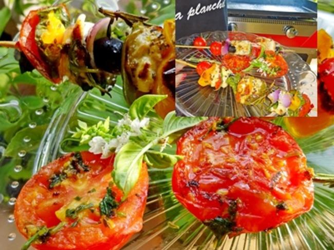 Brochettes poulet aux légumes du soleil cuisson à la plancha