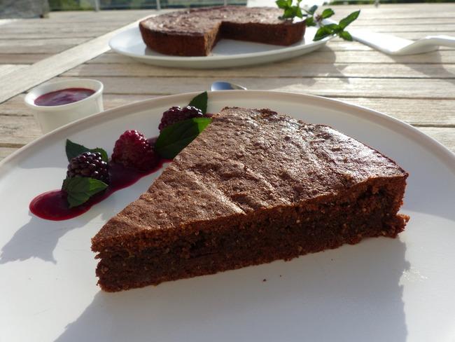 Gâteau au chocolat de Nancy et son coulis de fruits rouges