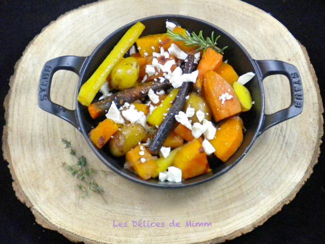 Légumes d'automne confits au four à la feta et au sirop d'érable