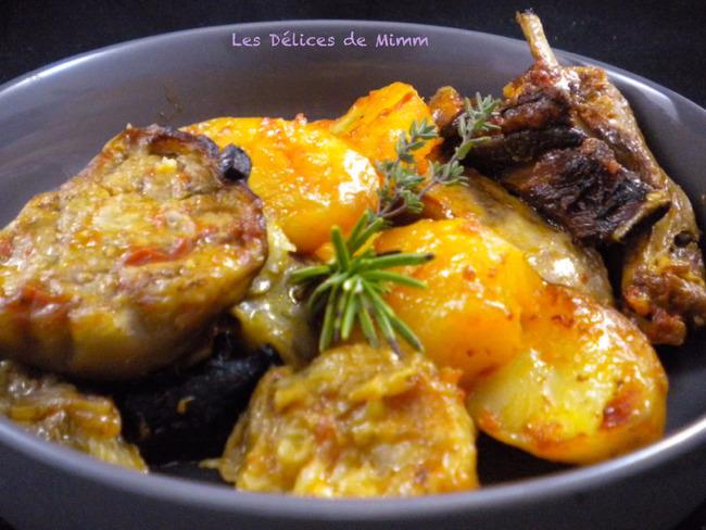 Agneau aux pommes de terre et aux aubergines comme en Italie