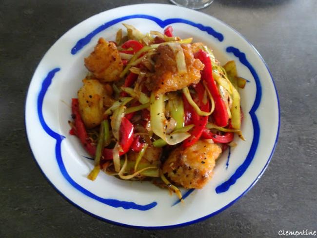 Beignets de poisson aux poivrons et poireaux à l'asiatique