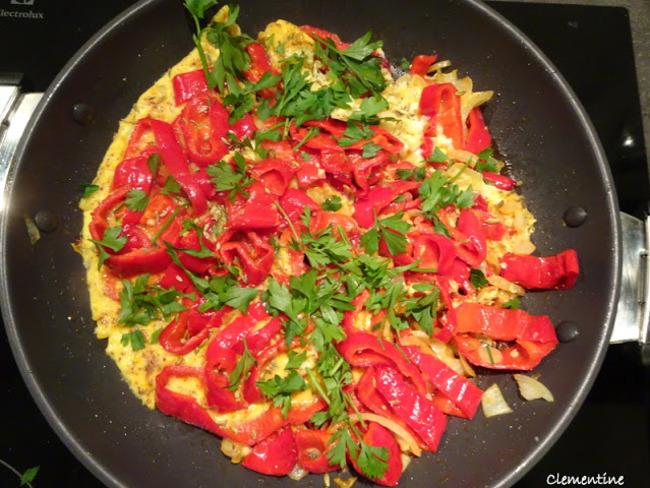 Omelette aux poivrons pointus