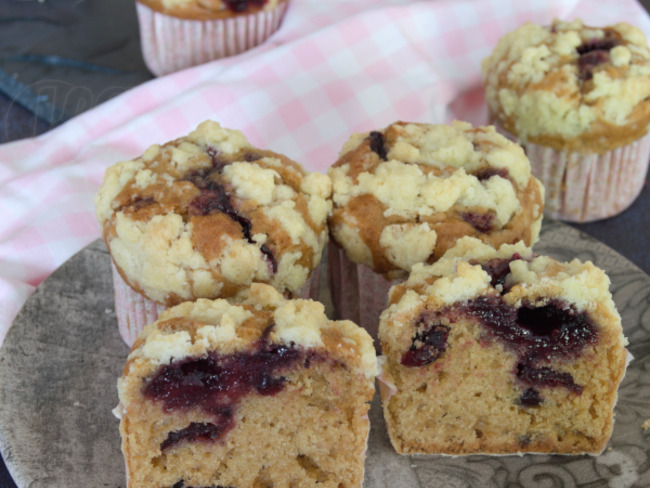 Le muffin aux cranberries fourré et son crumble