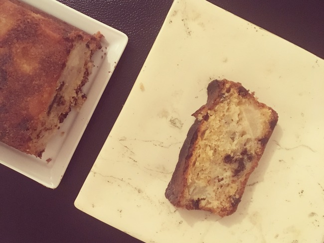 cake poire, banane, chocolat