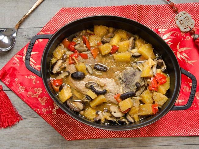 Rouelle de porc ananas champignons