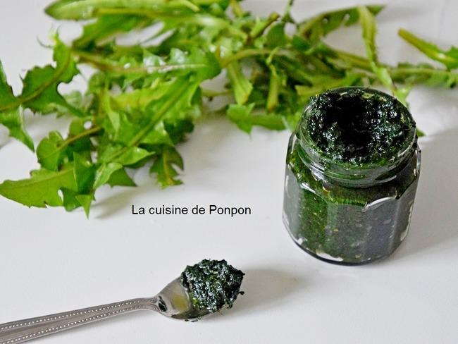 Pesto de feuilles de pissenlit et spiruline