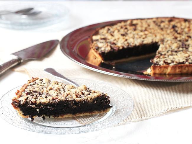 Tarte crumble et chocolat et noix de pécan