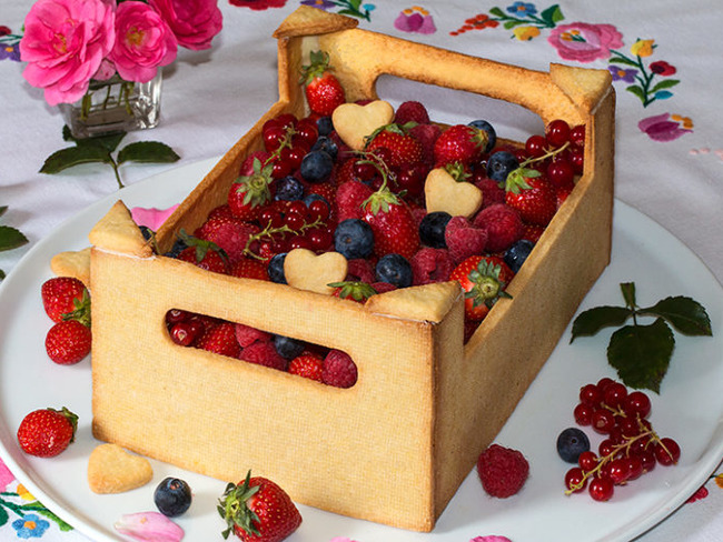 Gâteau cagette de fruits