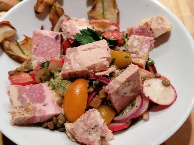 Salade de lentilles au gratton bordelais au foie gras