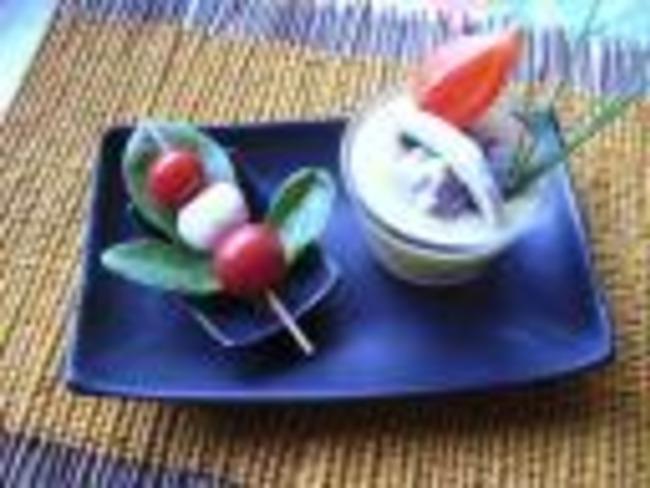 Verrines de courgettes aux champignons et curry