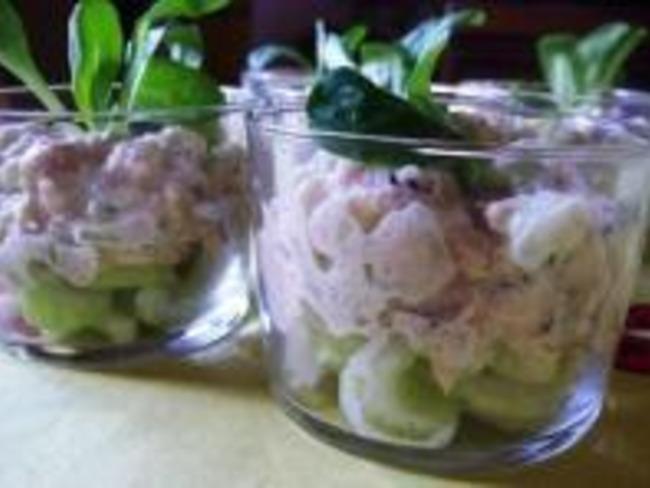 Verrines de Crabe, Kiwis, Pignons de Pin et Céleri