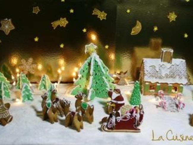 Paysage de Noël en pain d'épices