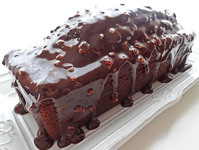 Cake chocolat & café, glaçage chocolat & pistaches