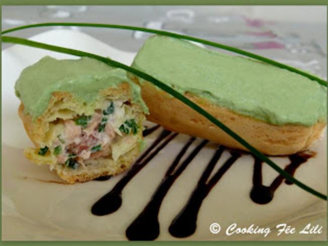 Eclairs aux 2 saumons et glacage wasabi