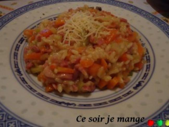 Risotto aux légumes et aux lardons