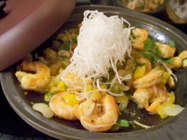 Crevettes au jus de Yuzu, poivron jaune, épices cajun, gingembre