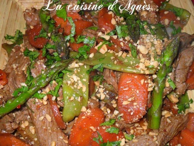 filet de boeuf et légumes poêlés à la chinoise
