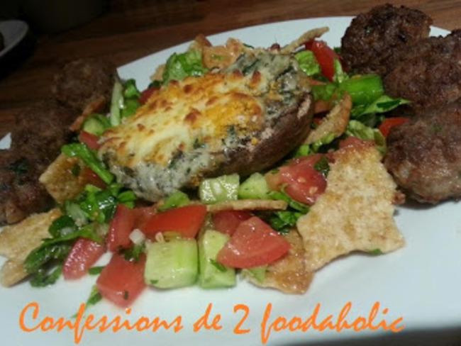Champignons farcis à la crème d'épinards et mozzarella/ Fattoush