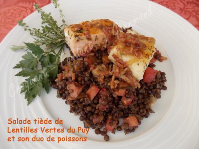 SALADE TIèDE de LENTILLES Vertes du Puy et son DUO de POISSONS