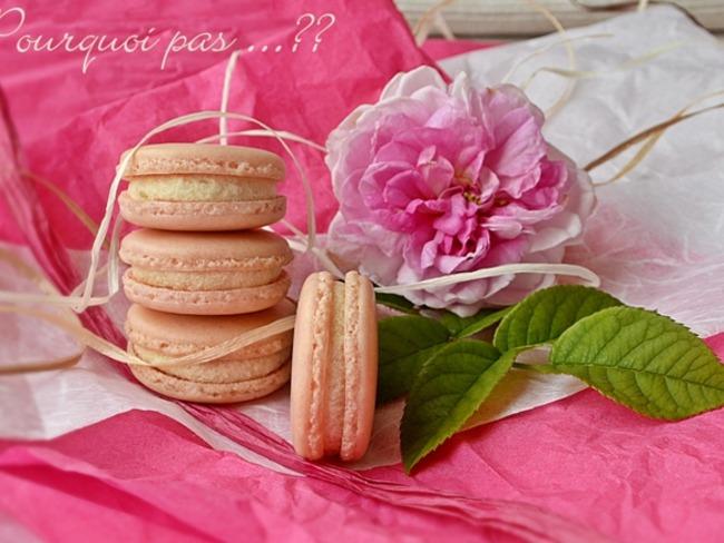 Macaron à la rose, amande et thé