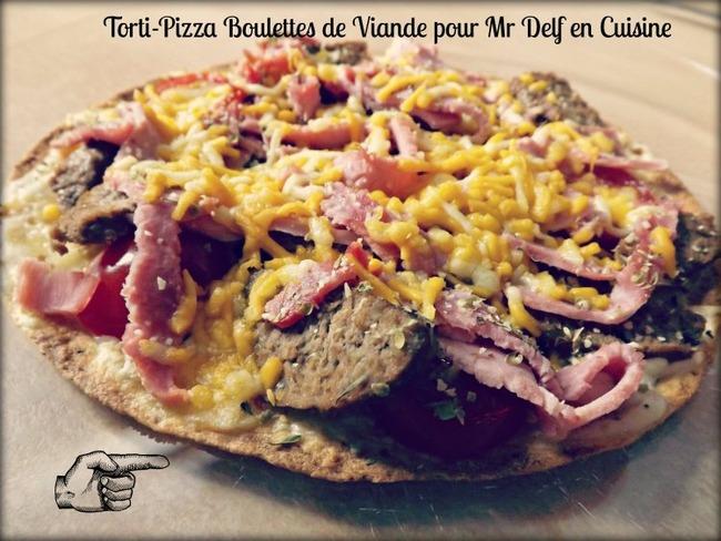 Torti pizza avec boulettes de viande