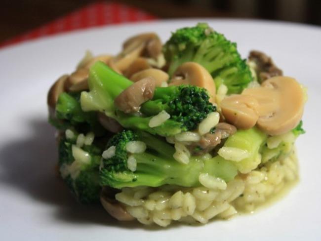 Risotto brocolis, champignons et pesto