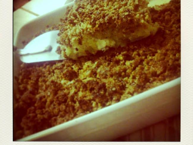 Crumble de courgettes et fromage de chèvre, au son d'avoine et graines de lin brun