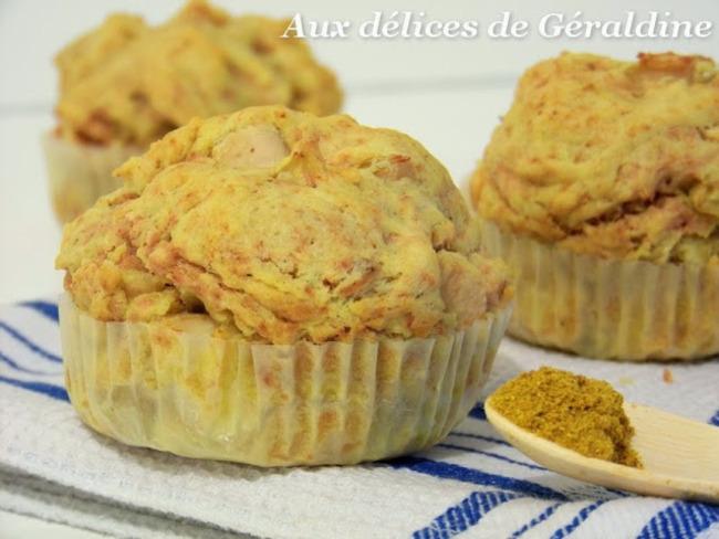 Muffins à l'indienne, poulet, curry et pomme