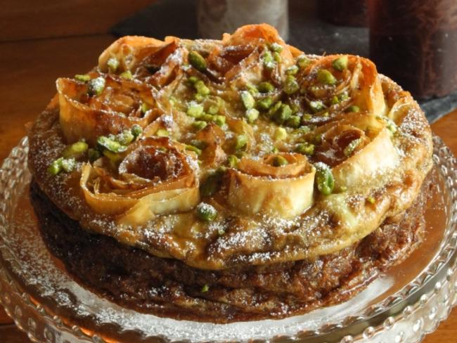 Gâteau Grec à la crème d'amande et à la pistache