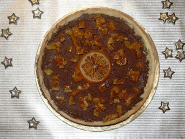 Tarte au chocolat et clémentine confite