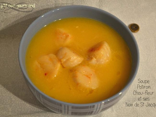 Soupe au potiron chou fleur et ses noix de Saint Jacques