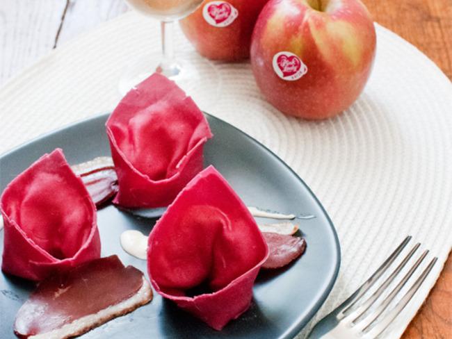 Raviolis de betteraves aux pommes et gingembre